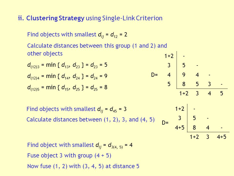 ii. Clustering Strategy using Single-Link Criterion