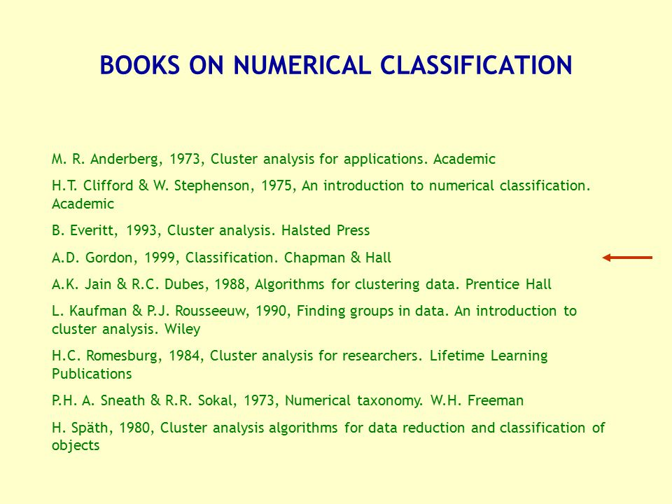 BOOKS ON NUMERICAL CLASSIFICATION