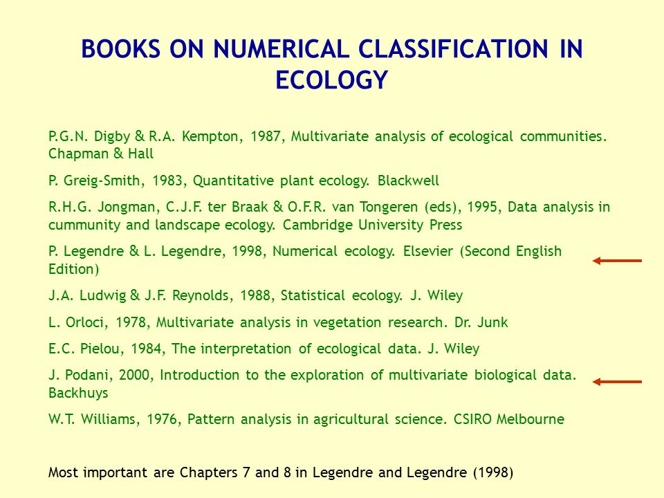 BOOKS ON NUMERICAL CLASSIFICATION IN ECOLOGY