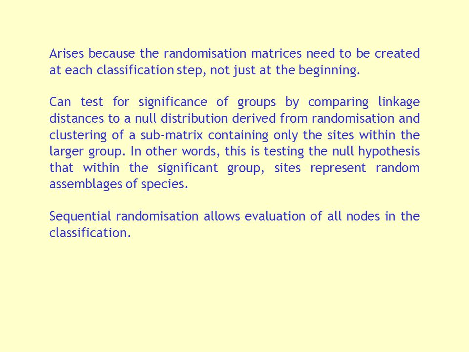 Arises because the randomisation matrices need to be created at each classification step, not just at the beginning.