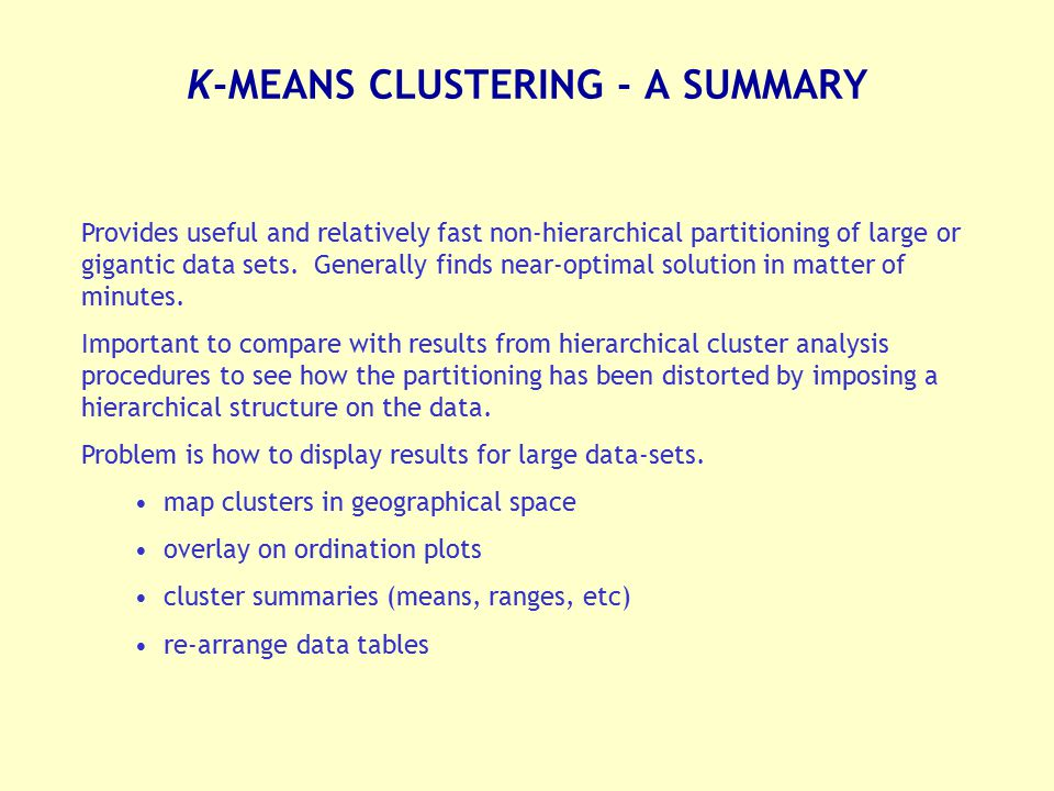 K-MEANS CLUSTERING - A SUMMARY
