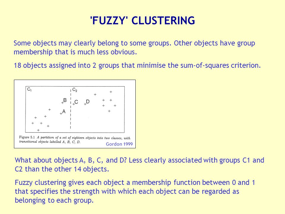 FUZZY CLUSTERING Some objects may clearly belong to some groups. Other objects have group membership that is much less obvious.