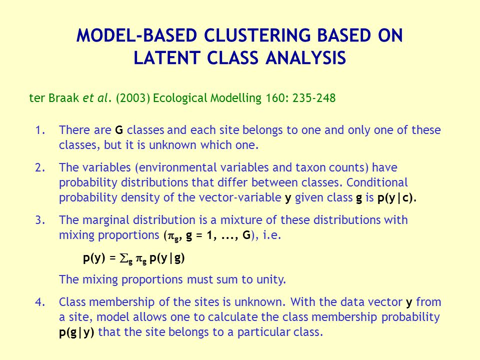 MODEL-BASED CLUSTERING BASED ON LATENT CLASS ANALYSIS