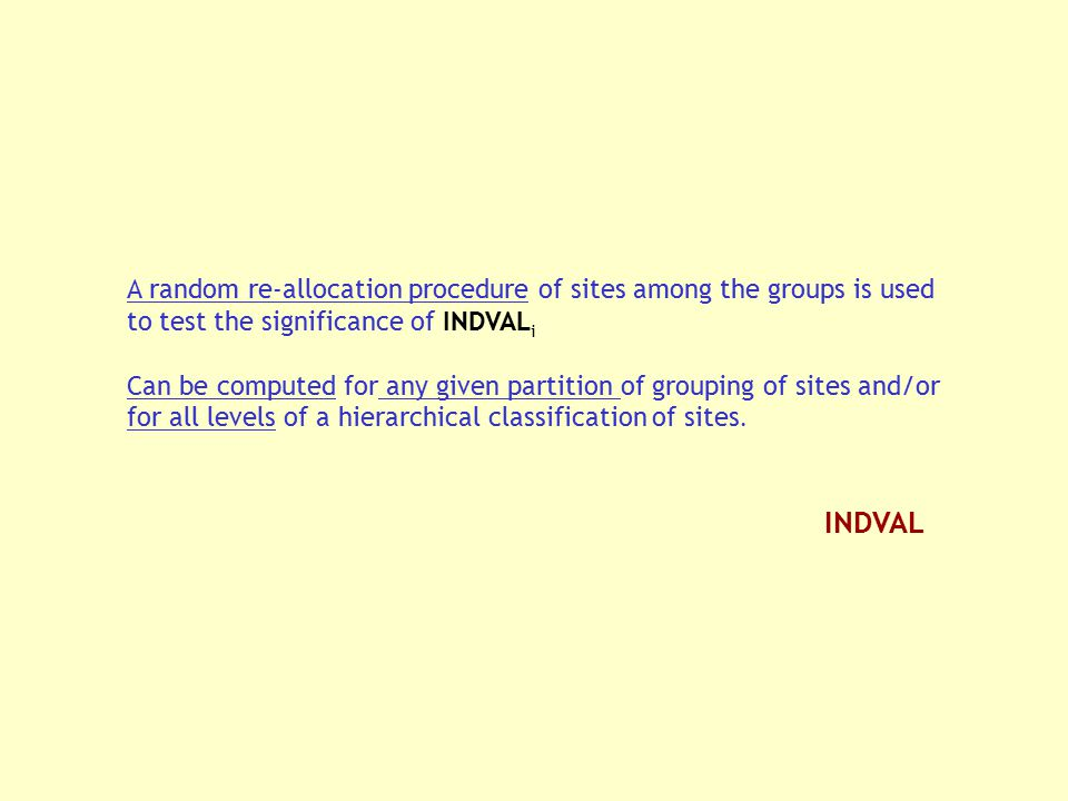 A random re-allocation procedure of sites among the groups is used to test the significance of INDVALi
