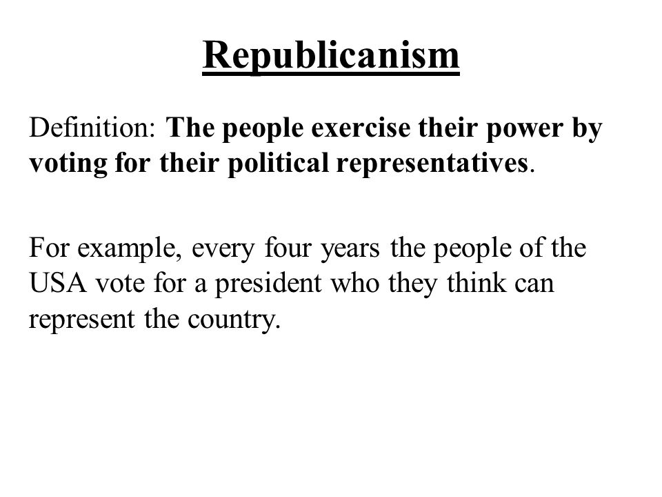 Republicanism in the constitution examples