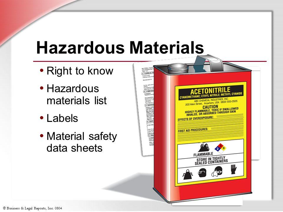Hazardous Materials Right to know Hazardous materials list Labels