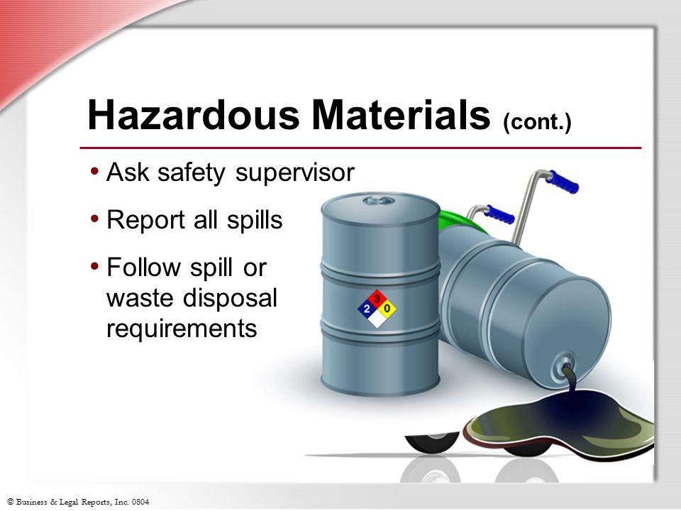 Hazardous Materials (cont.)
