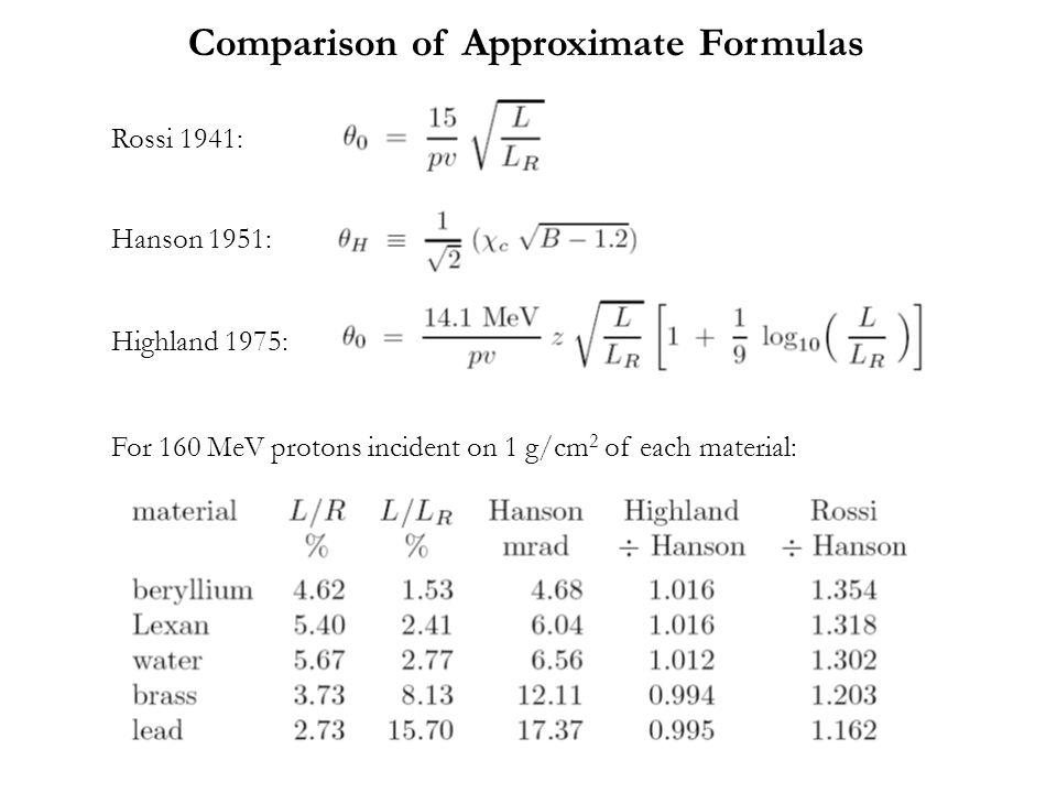 Comparison of Approximate Formulas