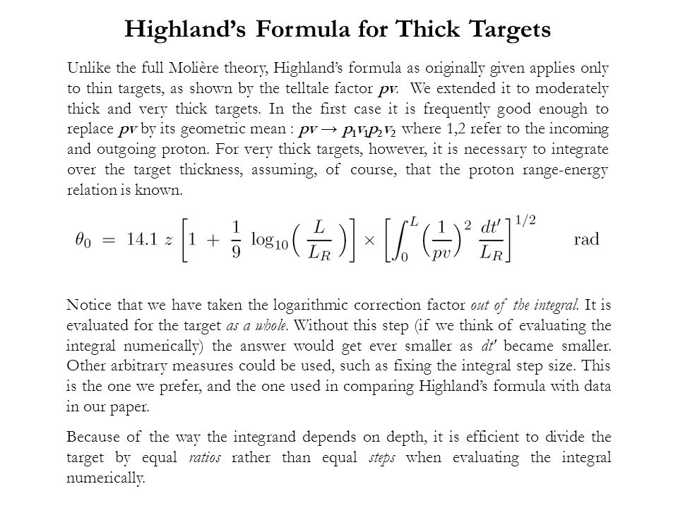 Highland's Formula for Thick Targets
