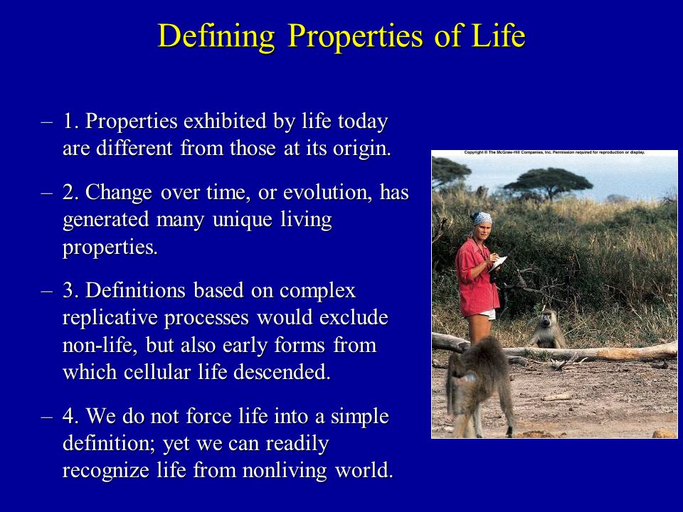 Defining Properties of Life