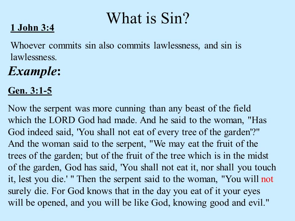 What is Sin Example: 1 John 3:4