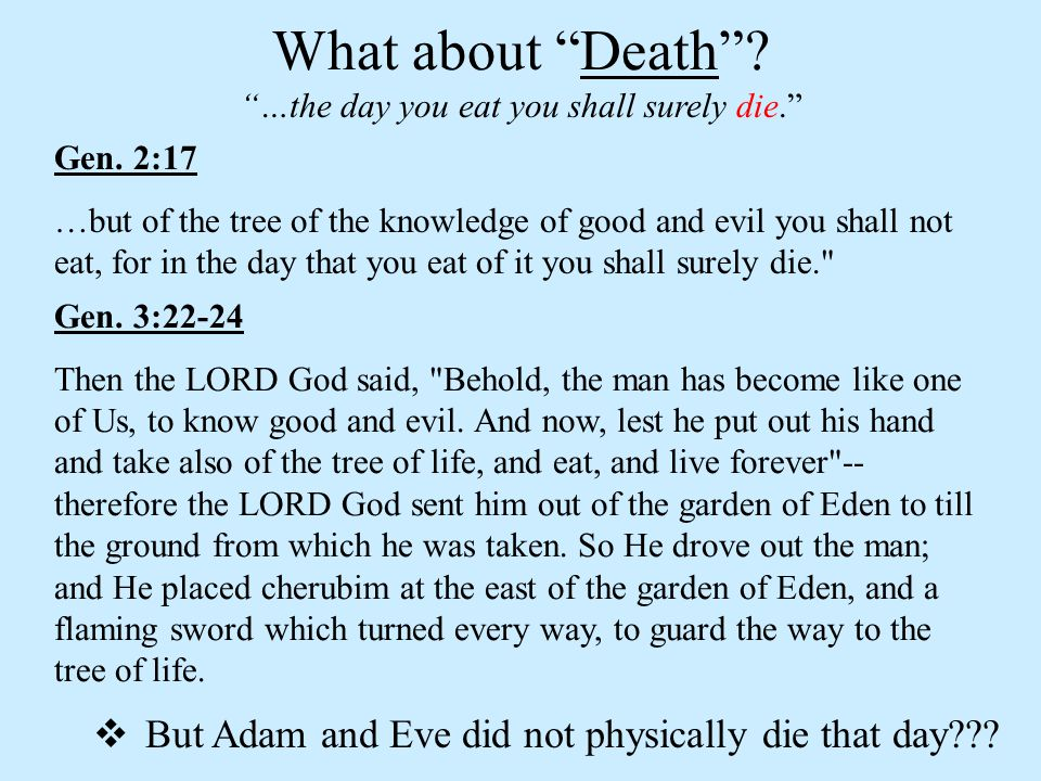 What about Death …the day you eat you shall surely die. Gen. 2:17.