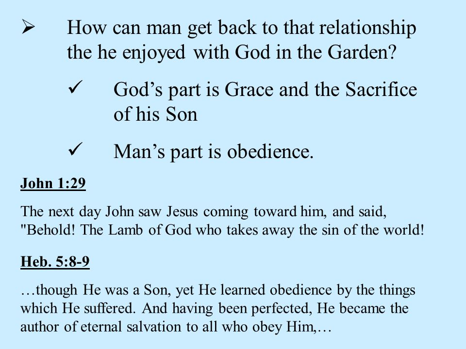 God's part is Grace and the Sacrifice of his Son