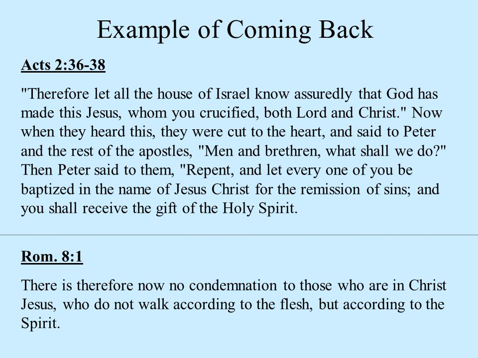Example of Coming Back Acts 2:36-38