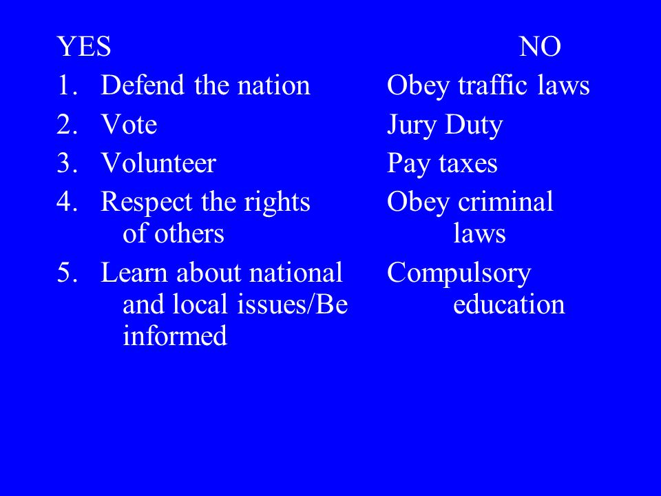YES NO Defend the nation Obey traffic laws. Vote Jury Duty. Volunteer Pay taxes.
