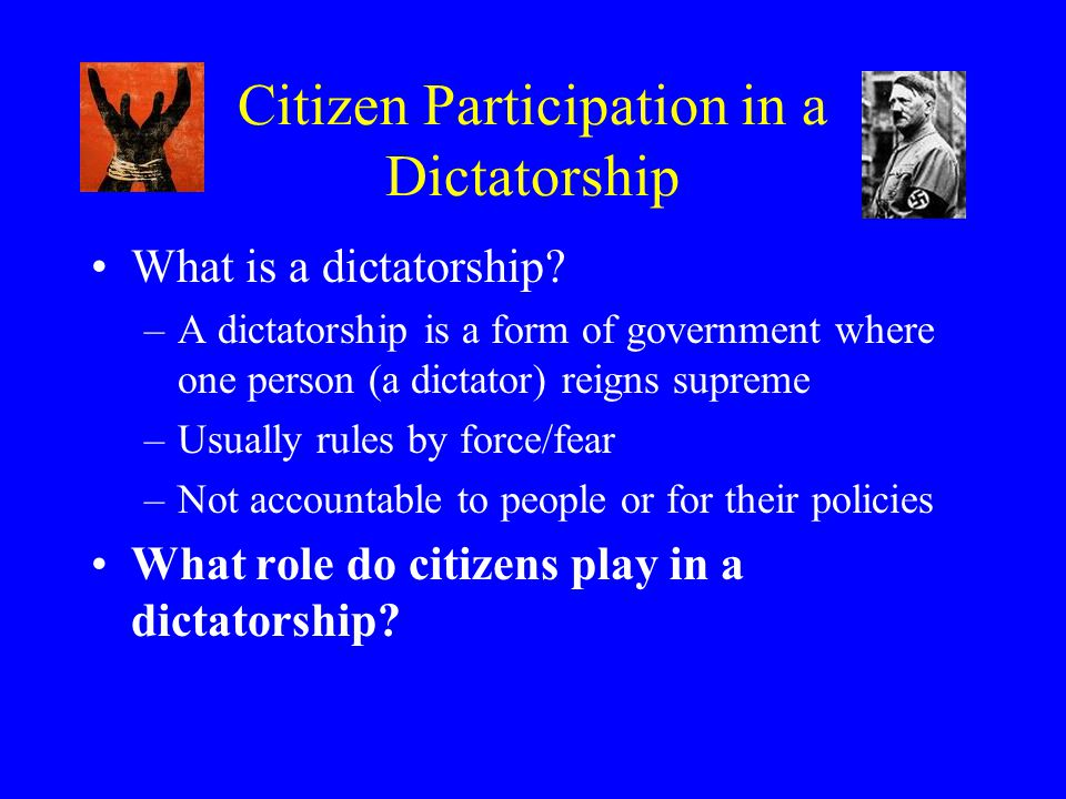 Citizen Participation in a Dictatorship