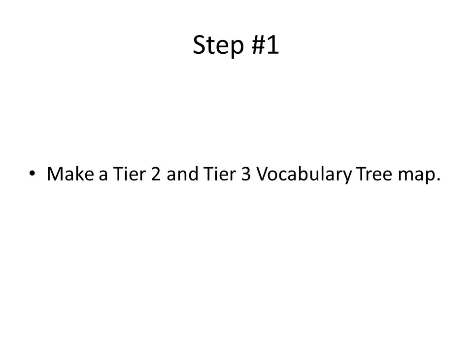 Step #1 Make a Tier 2 and Tier 3 Vocabulary Tree map.