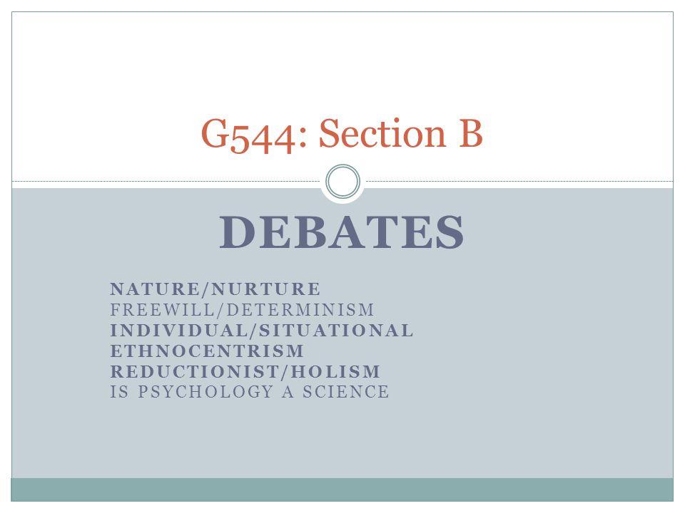 Debates G544: Section B Nature/Nurture FreeWill/Determinism