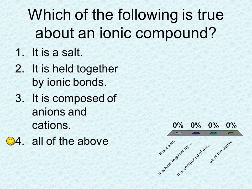 Which of the following is true about an ionic compound
