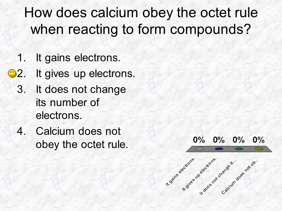 How does calcium obey the octet rule when reacting to form compounds