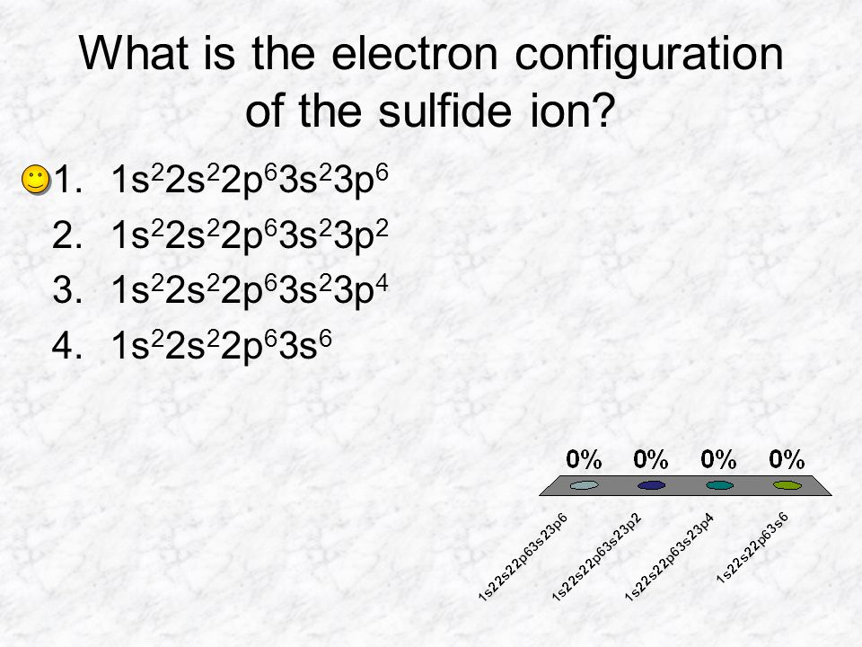 What is the electron configuration of the sulfide ion