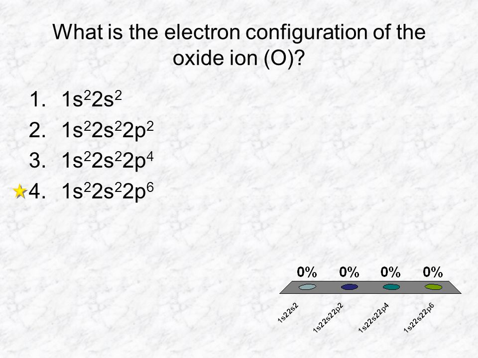 What is the electron configuration of the oxide ion (O)