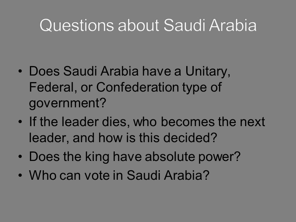 Questions about Saudi Arabia