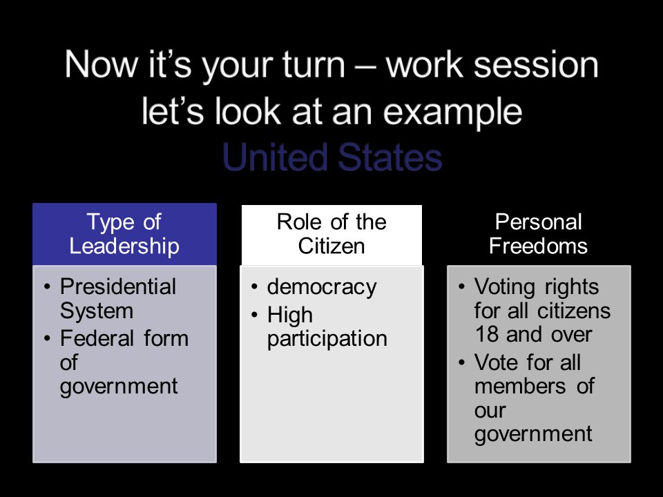 Now it's your turn – work session let's look at an example United States