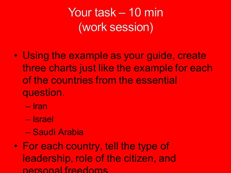 Your task – 10 min (work session)