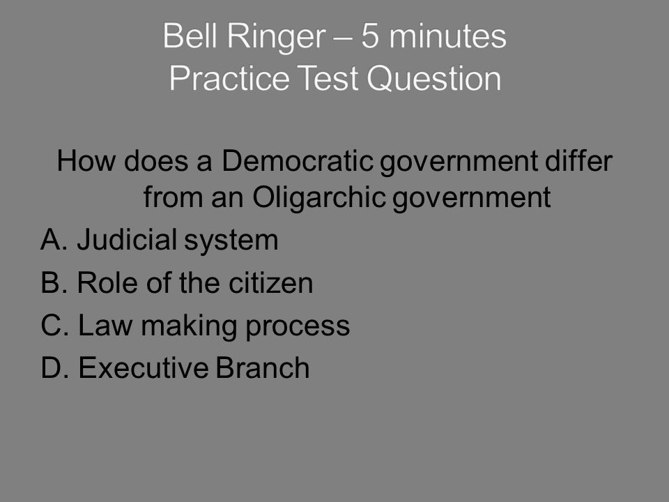 Bell Ringer – 5 minutes Practice Test Question