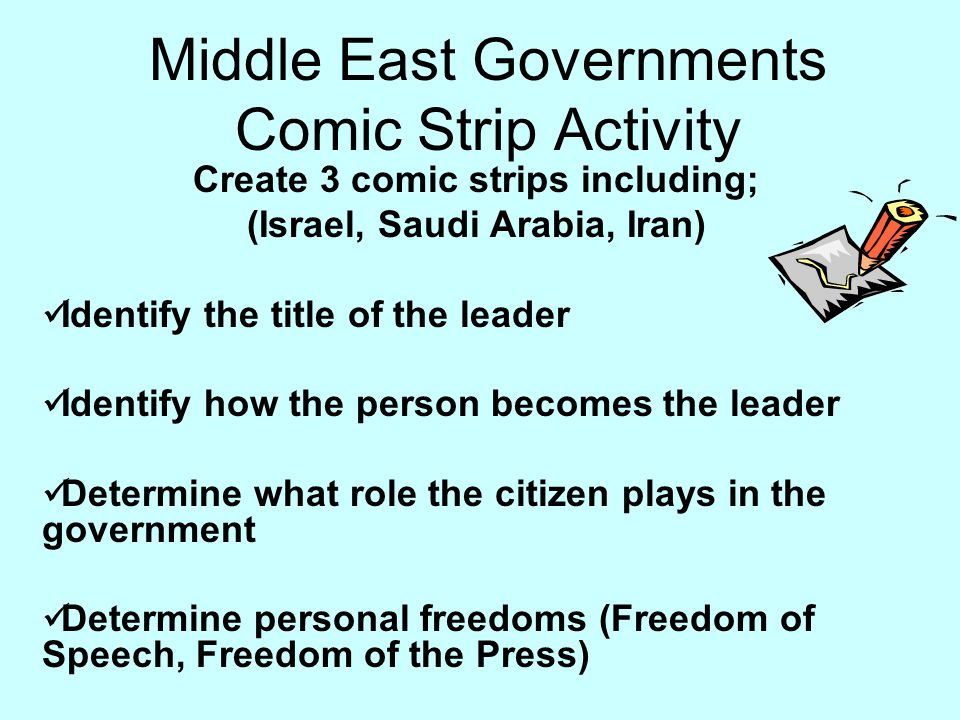 Middle East Governments Comic Strip Activity