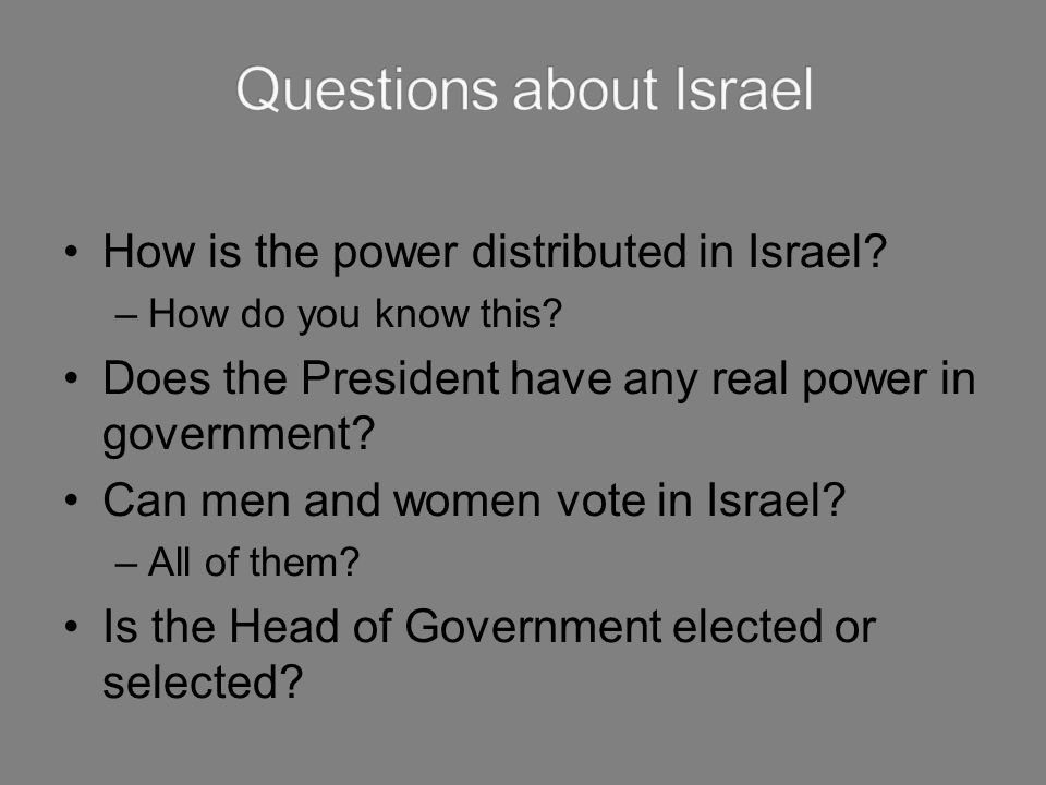 Questions about Israel