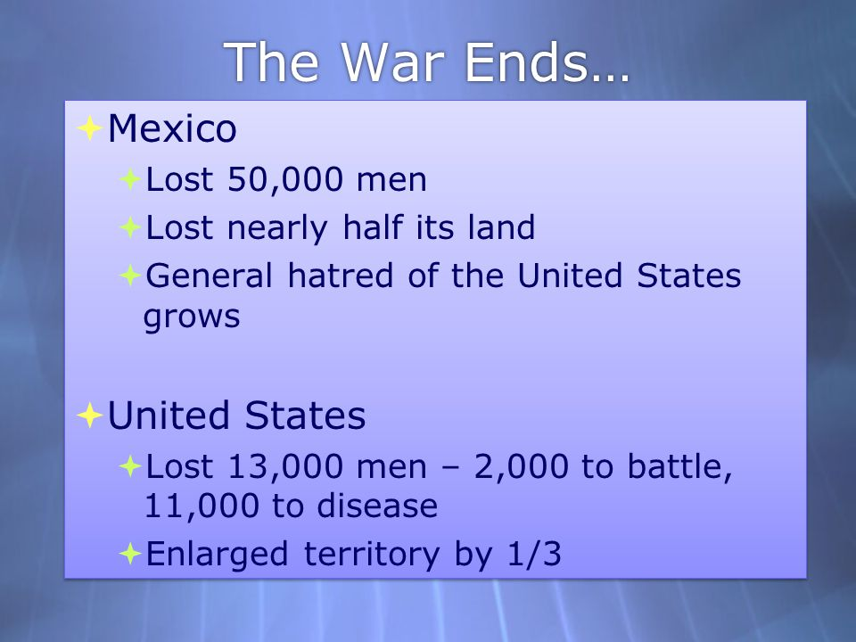 The War Ends… Mexico United States Lost 50,000 men