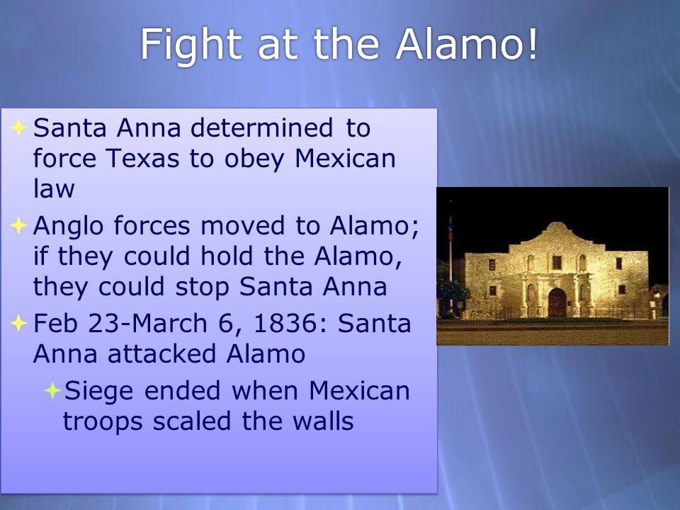 Fight at the Alamo! Santa Anna determined to force Texas to obey Mexican law.