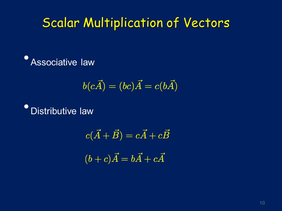 Scalar Multiplication of Vectors
