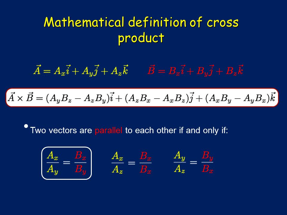 Mathematical definition of cross product