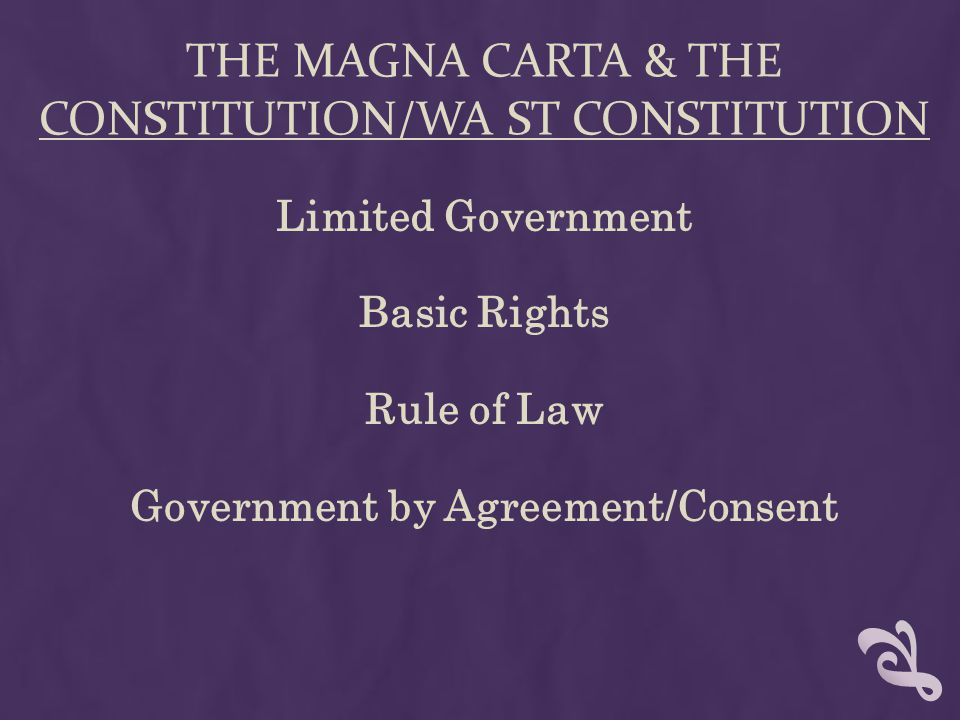 The Magna carta & the Constitution/Wa St constitution