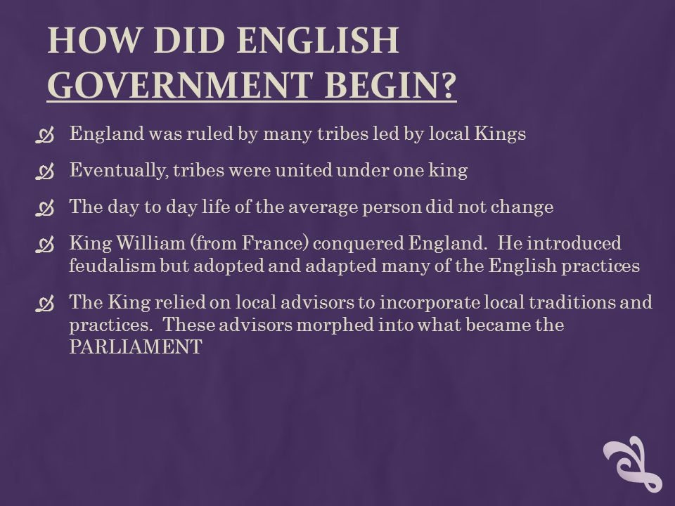 How did english government begin