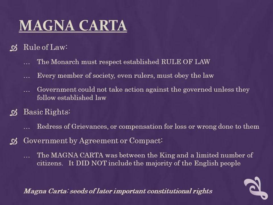 Magna Carta Rule of Law: Basic Rights:
