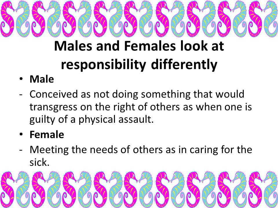 Males and Females look at responsibility differently