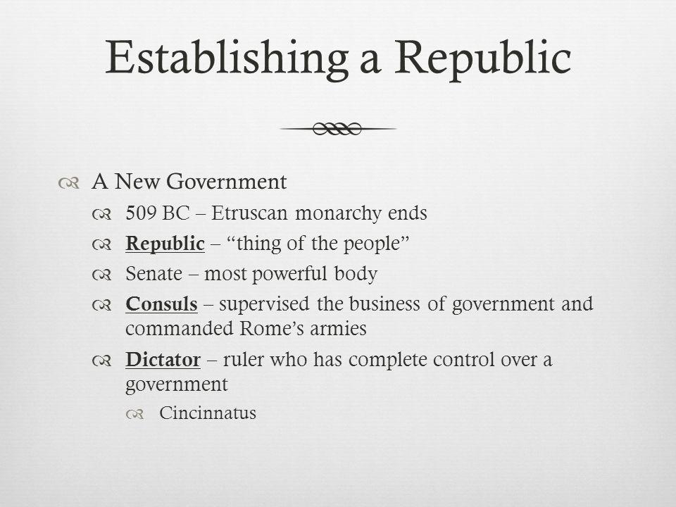 Establishing a Republic