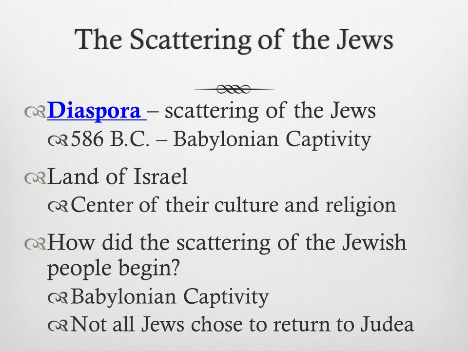 The Scattering of the Jews