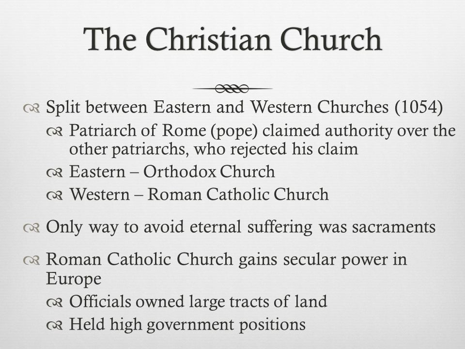 The Christian Church Split between Eastern and Western Churches (1054)