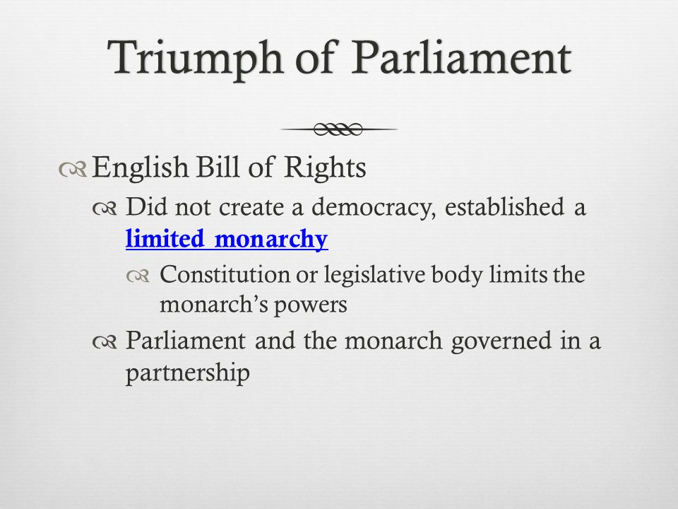 Triumph of Parliament English Bill of Rights