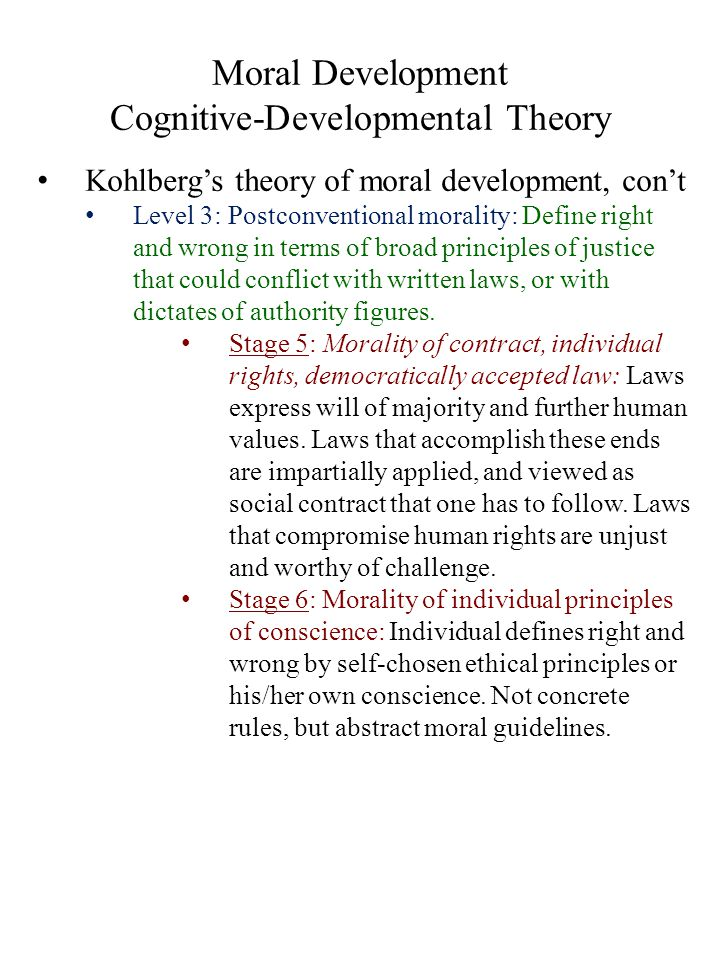 Moral Development Cognitive-Developmental Theory