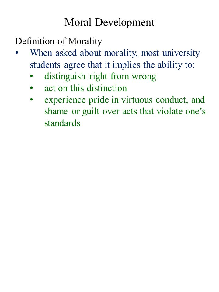 Moral Development Definition of Morality