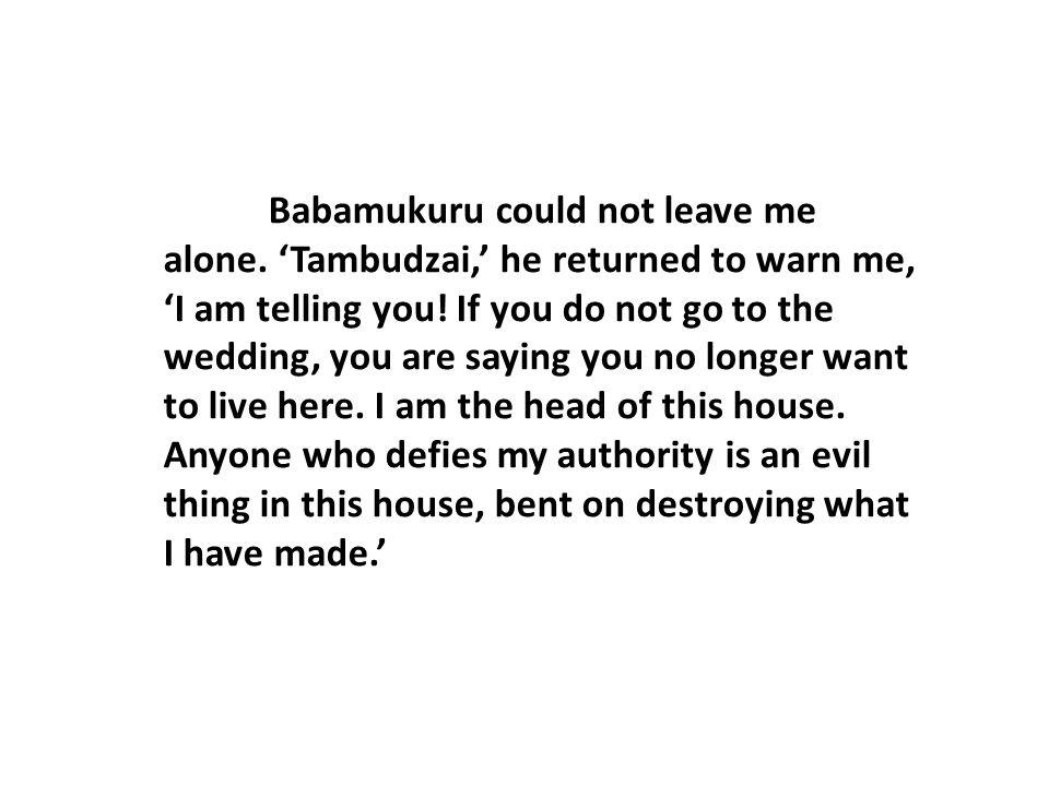 Babamukuru could not leave me alone