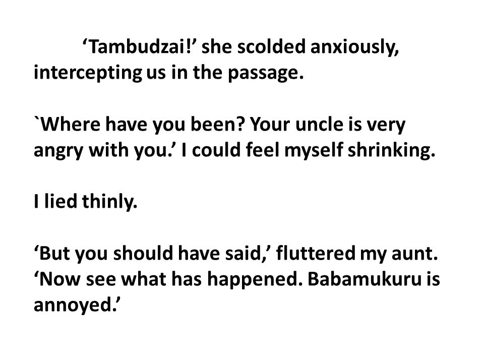 'Tambudzai!' she scolded anxiously, intercepting us in the passage.