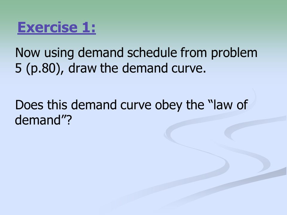Exercise 1: Now using demand schedule from problem 5 (p.80), draw the demand curve.