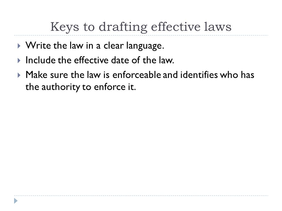 Keys to drafting effective laws